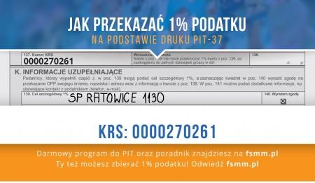 PRZEKAŻ NAM SWÓJ 1 % PODATKU!